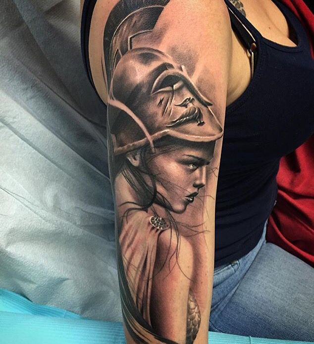 Athena -Goddess of War  Tattoo by talented Jhon Gutti.
