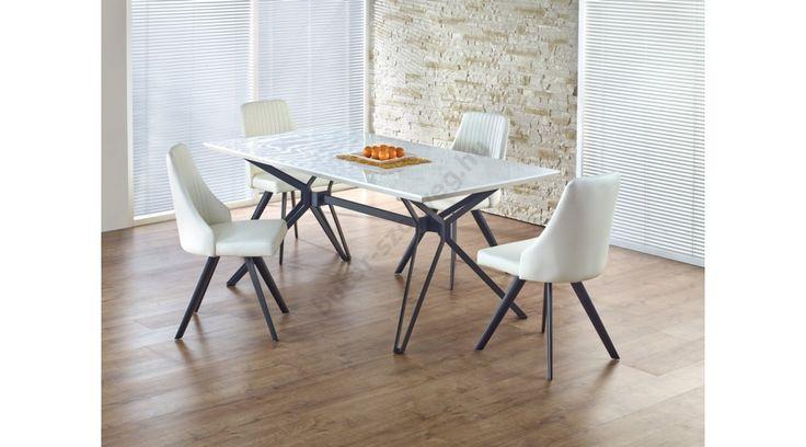 PASCAL - egy fiatalos és modern étkezőasztal, lakkozott MDF-ből, porszórt acél vázzal. Az étkezőasztal mérete: 160/90/76 cm. A fotón K206 székek láthatók az asztallal, melyek nem tartoznak az asztalhoz, de webshopunkban külön