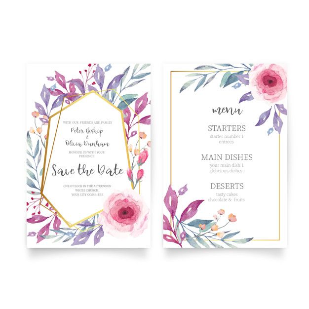 Download Floral Wedding Invitation With Watercolor Nature For Free