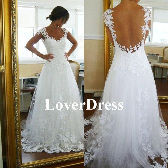 Lace Wedding Dress Ball Gown Wedding Dress Straps di LoverDress, $180.00