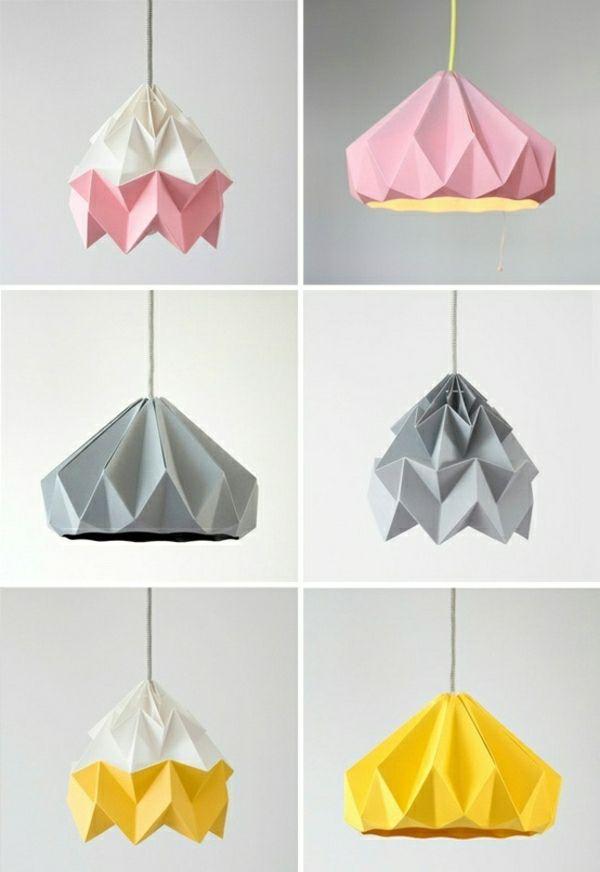 diy projekte origami lampenschirm basteln aus pappkarton farbideen
