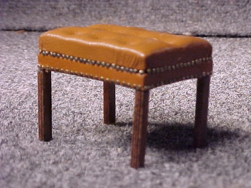 Vintage Doll House Miniature Chipendale Bench with Leather