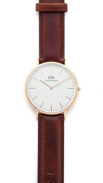 daniel wellington st andrews 40mm watch with brown. Black Bedroom Furniture Sets. Home Design Ideas