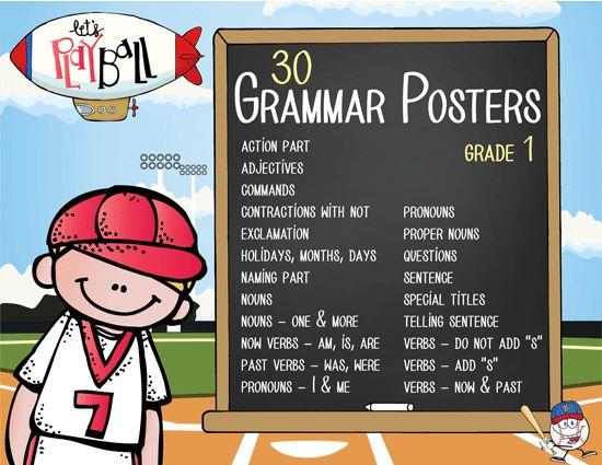 BASEBALL - 1st grade GRAMMAR posters / Scott Foresman ...