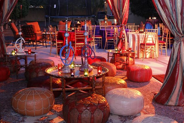 Arabian night themed party ideas hookah lounge and for Arabian party decoration