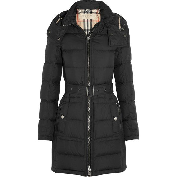 Burberry Brit Quilted down coat ($650) ❤ liked on Polyvore featuring outerwear, coats, burberry, black, long, down coat, long coat, burberry coat, zip coat and long quilted coat
