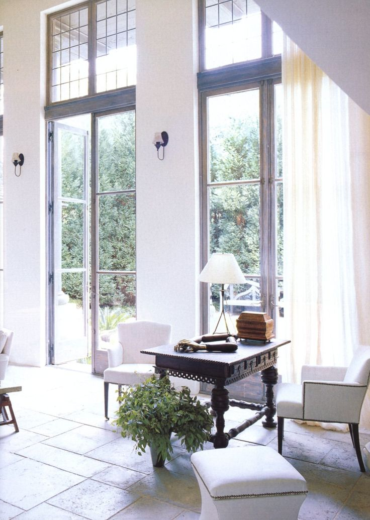 Love the tall doors & windows // Bobby McAlpine -- great trim color too