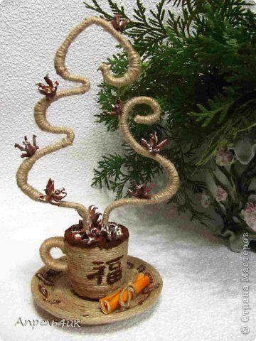 Поделка изделие Новый год Моделирование конструирование Дымок над чашкой кофе или ёлочка в подарок Клей Кофе Материал природный Шпагат фото 1
