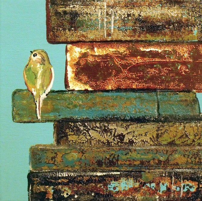 Contemporary Art Print Little Bird nestled in Vintage Inspired Books. $15.00, via Etsy. (friendlyearthart)