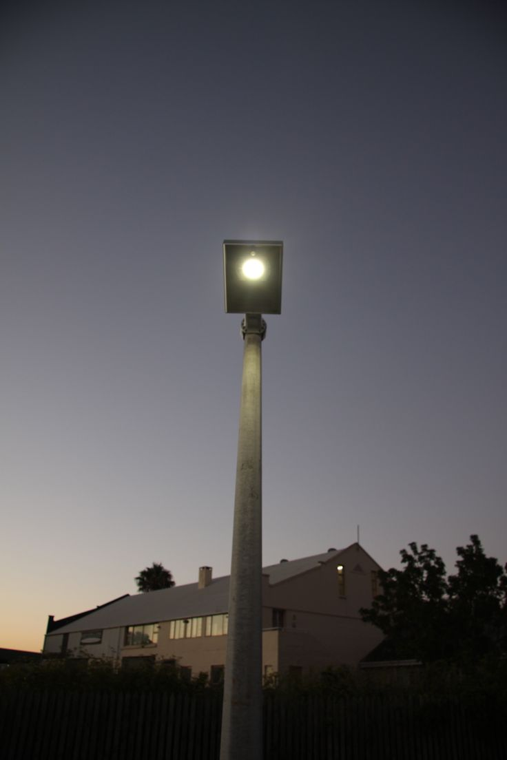 Solar street lights. Naturally Solar test project at Lower Queen street, Knysna Boardwalk. Creating safety with light.