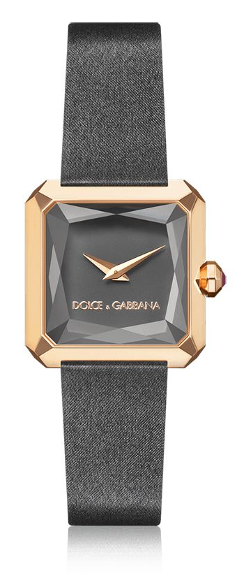 Dolce & Gabbana Sofia: grey women's watch with gold case, natural rubies and grey satin strap. Available for online purchase.