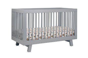 Finally, a modern gray crib that won't break the bank!  babyletto Hudson 3 in 1 Convertible Crib