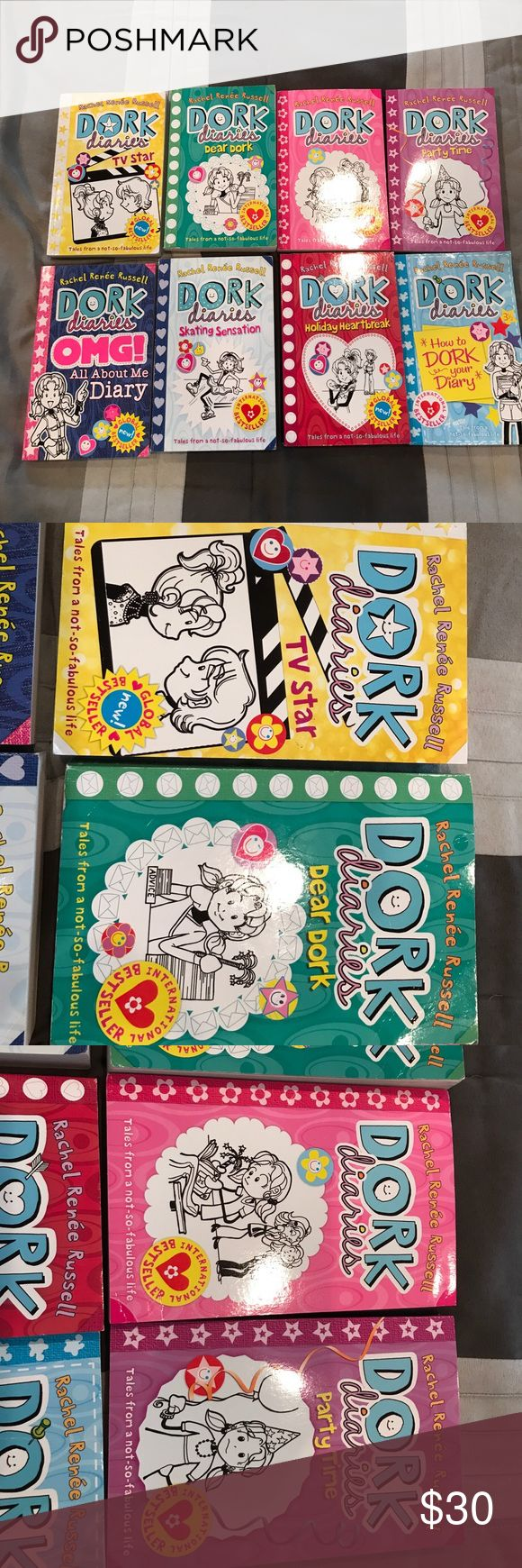 Dork diaries set of eight softback books Kids books dork diaries, dork diaries oh my God all about my diary, dork diaries dear dork, dork diaries skating sensation, dork  diaries holiday heart break, dork diaries TV star, dork diaries, dork diaries how to dork your diary, dork diaries party time all books are by Rachel Renée Russell. International bestseller's no mason torn pages books are in great condition dork diaries Other