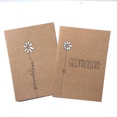 In moeilijke tijden is het fijn om een kaart te krijgen. #lievigheidje #kaart #post #gecondoleerd #condoleance #bloemetje #handmade #kaarten #kraft #wit #oprechtedeelneming #sterkte #kleinemoeitegrootgebaar #steun #margriet #flower