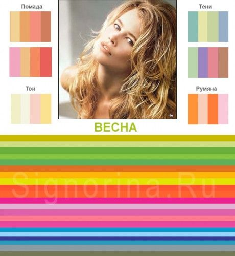 Цветотип внешности «весна»:  девушек, относящихся к весеннему цветотипу, чаще всего встречаются натуральные блондинки с золотистым отливом волос. Кроме того, к этому цветотипу также можно отнести девушек со светло-русыми и коричневыми волосами при соблюдении основного условия, которое заключается в том, что волосы должны иметь теплый оттенок с золотистым отливом.У «весенних» девушек светлые голубые, бирюзовые, желто-зеленые или золотисто-карие глаза и тепло-розовых оттенков