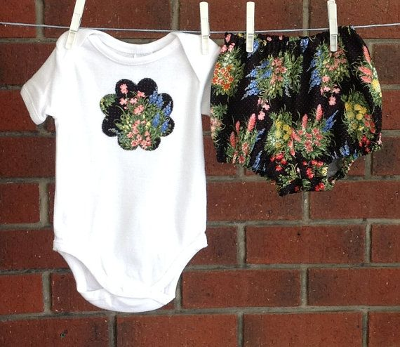 FLORAL DIAPER COVER black wildflower baby girl by TwoBlackRabbits