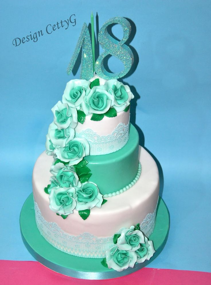 Le torte decorate di CettyG...: 18°Compleanno color Tiffany