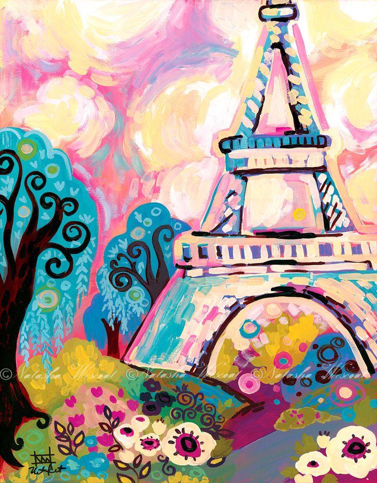 Paris Art Eiffel Tower Romantic decor Print 8x10 by Natasha Wescoat. $18.00, via Etsy.