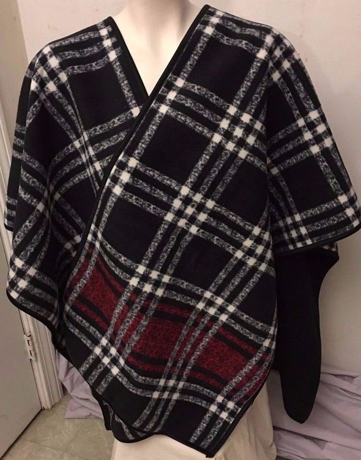 Ike Behar Black Red Plaid Reversible Fashion Wrap Shawl Womens One Size NWT #IkeBehar #ShawlWrap #CasualEvening