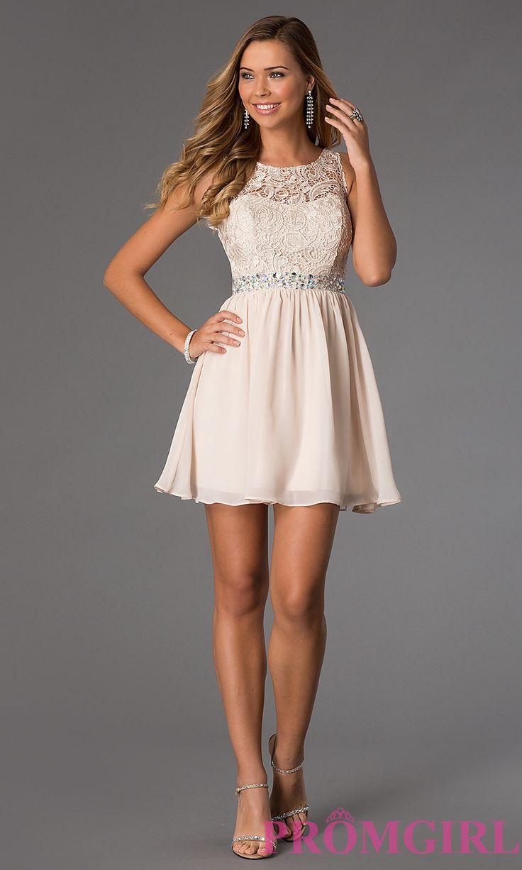 Image of short sleeveless dress with lace bodice style mq 836564 detail image 1