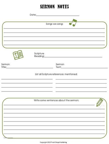 Free Sermon Notes Printables for kids by Jill Connelly, TruthStepsPublishing.com