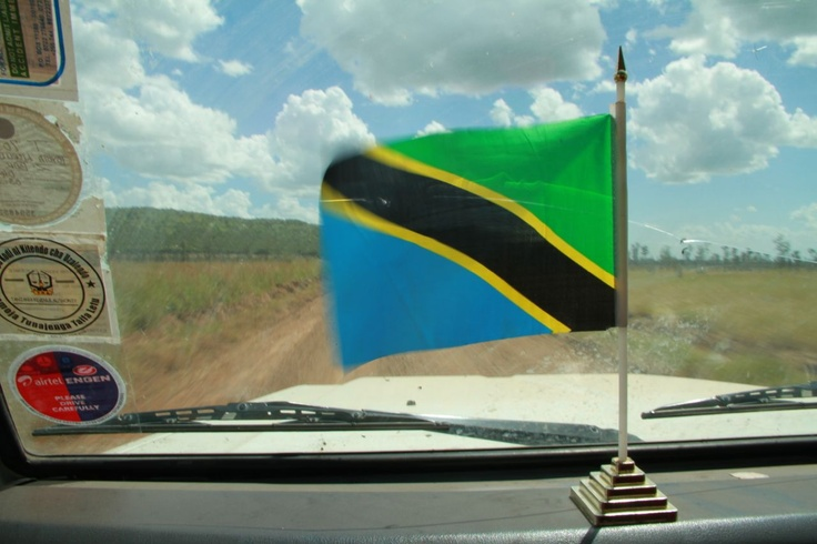 Tanzania's flag blowing in the wind of Land Cruiser in the Serengeti National Park