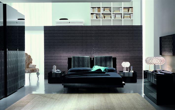 Download wallpapers modern design bedroom, 4k, black bed, black and white bedroom, modern style, floor lamps