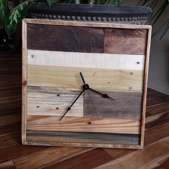 Industrial wall clock rustic home decor reclaimed wood