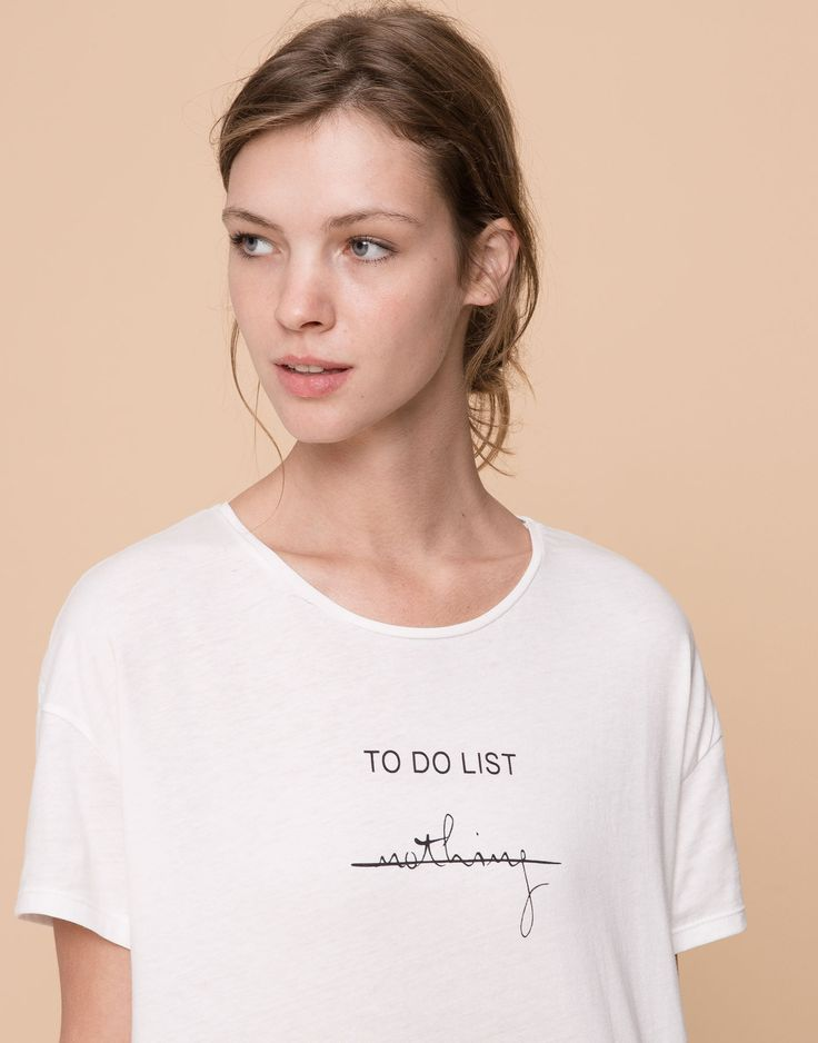 SLOGAN T-SHIRT - T-SHIRTS AND TOPS - WOMAN - PULL&BEAR Indonesia