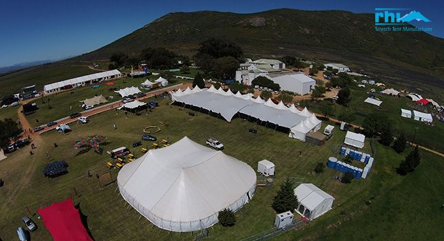 Stretch tents attached to traditional marquees at Rocking the Daisies, South Africa's largest rock festival.