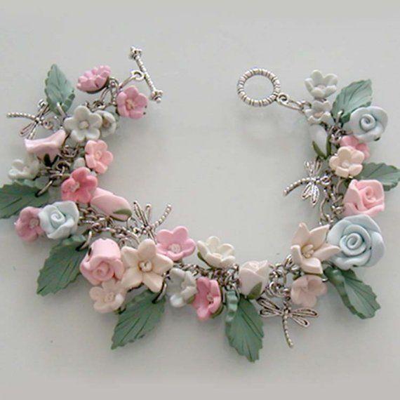 Polymer Clay Charm Bracelet: Enchanted Garden Flower Bracelet, Handmade Polymer Clay
