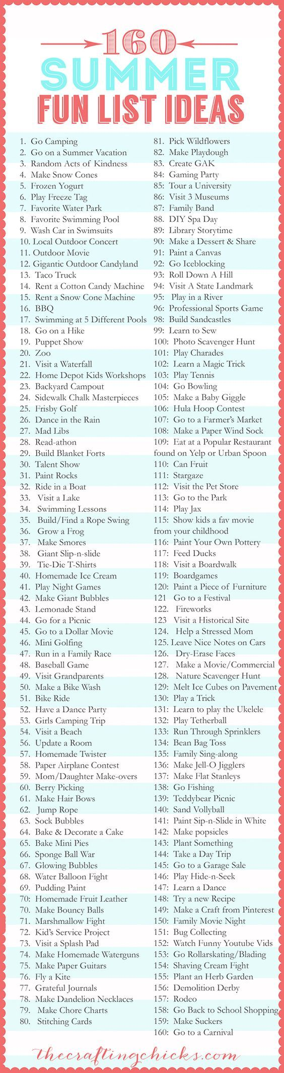 No one wants to spend their summers indoors, doing the same old things. We are going to use this list of 160 Summer Fun List Ideas to kick start our adventures this season.
