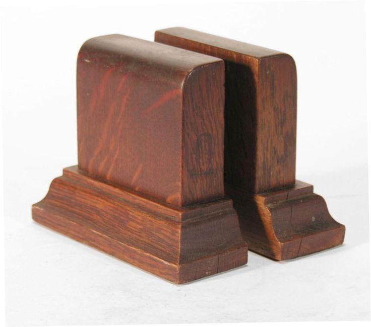 Gustav Stickley quarter-sawn Oak Book Blocks craftsman bookends Arts &…