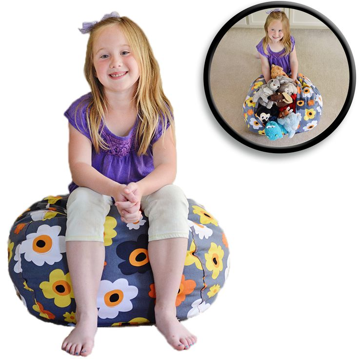 Stuffed Animal Storage Bean Bag Chair - Grey Floral