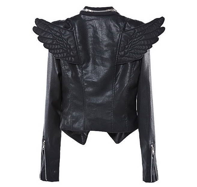 winged faux leather jacket, this may be one of the greatest jackets ever.  can you see me wearing this on the back of Carsons bike?