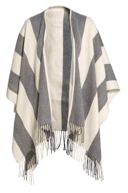 Poncho en laine mélangée