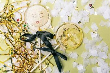 """The order is for three handmade to order 3"""" marshmallow flavored lollipops with hand painted vintage moons made out of vegan wafer paper, edible gold glitter stars."""