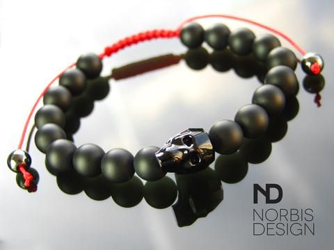 Men's Onyx/Red Macrame Swarovski Skull Bracelet