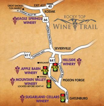 Rocky Top Wine Trail You're in Smoky Mountain Wine Country! Plan to hit the Wine Trail located in the heart of the Great Smoky Mountains, comprised of five wineries offering over 60 unique varieties of wine to sample! All 5 locations are open 7 days a week! •  Eagle Springs Winery, Kodak •  Hillside Winery, Sevierville •  Apple …