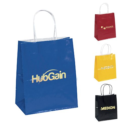 FREE Shipping on Best Seller's Custom Imprinted Gloss Paper Shopping Bags! #FreeShipping  #EcoFriendlyBags #CorporateGifts