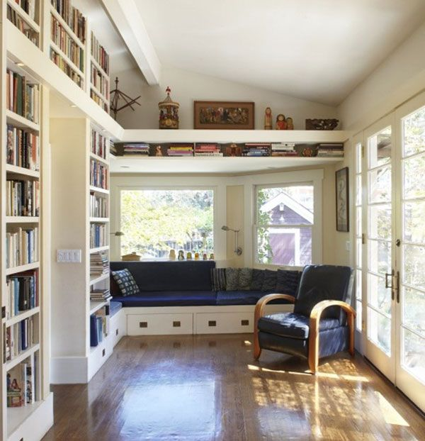 Home Library Design with Classic Theme Mood : Wooden Floor White Bookshelf Dark Blue Armchair Home Library Design