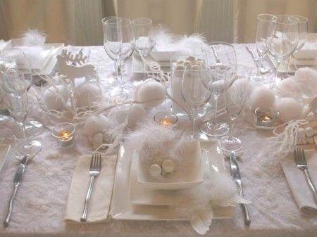 Dressage de table : décoration de table de Noël blanche