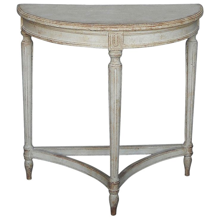 Superb Small Gustavian Style Demilune Table