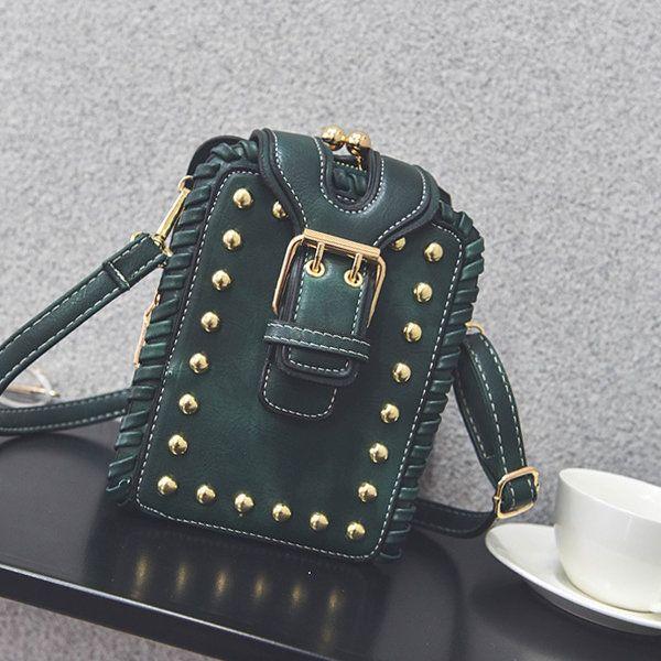 Grils Rivets Weaving Phone Bag Mini Crossbody Bag Dating Bag