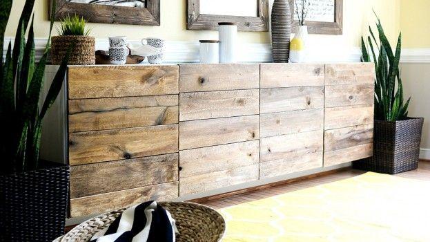 Ikea hack pimp een simpele kast met steigerhout diy kamer pinterest ik - Buffet metallique ikea ...