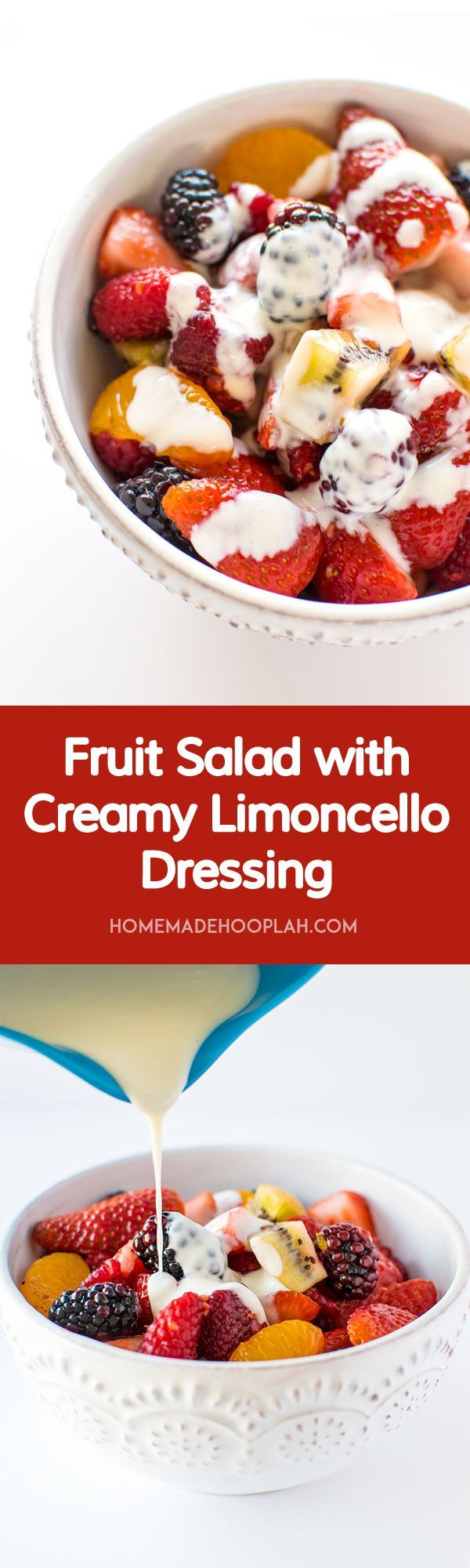 Fruit Salad with Creamy Limoncello Dressing! Colorful fruit salad drizzled with a sweet, creamy dressing infused with limoncello! | HomemadeHooplah.com