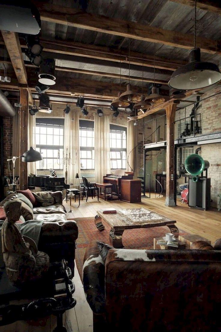 n industrial loft ..  Salon style industriel, Meuble style