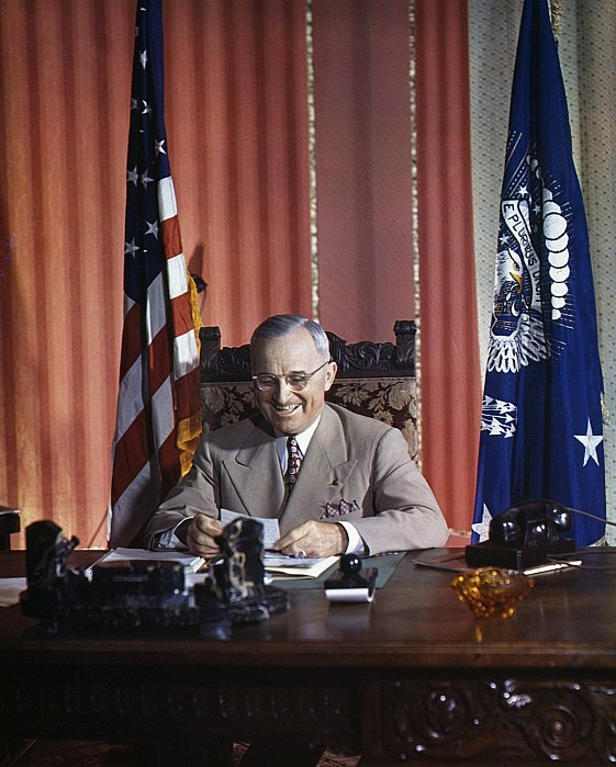 "HARRY S. TRUMAN (1884-1972). 33rd President of the United States. Photographed at his desk in the White House, c1945.Harry Truman is remembered for saying,""THE BUCK STOPS HERE"""