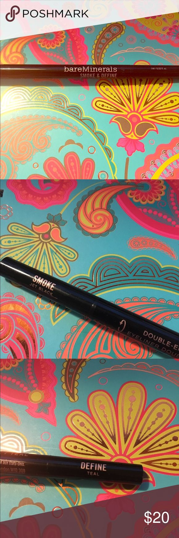 NewBareMinerals Smoke & Define kohl & liquid liner New double ended Bareminerals smoke and define. Kohl liner in jet black and liquid liner in teal. bareMinerals Makeup Eyeliner