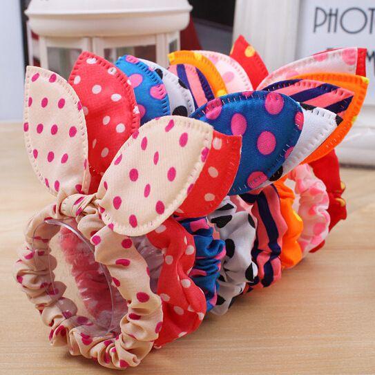 10 Stks/partij Mode Meisjes Haarband Mix Stijlen Stipboog Konijnenoren Elastische Haar Touw Paardenstaart accesorios para el pelo